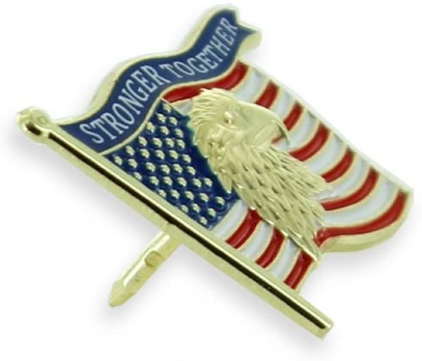 STRONGER TOGETHER Flag Pin on it's side