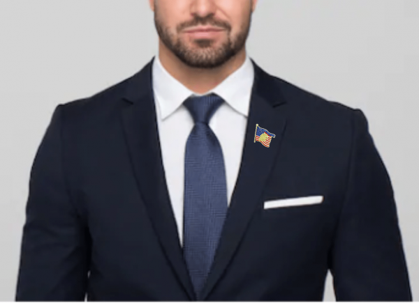 Stronger Together Flag Pin Worn on a man