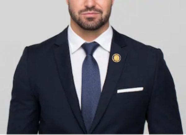 Employee of the Month Pin being worn by a man