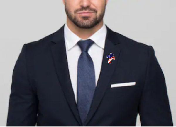 American Flag Cross Pin being worn